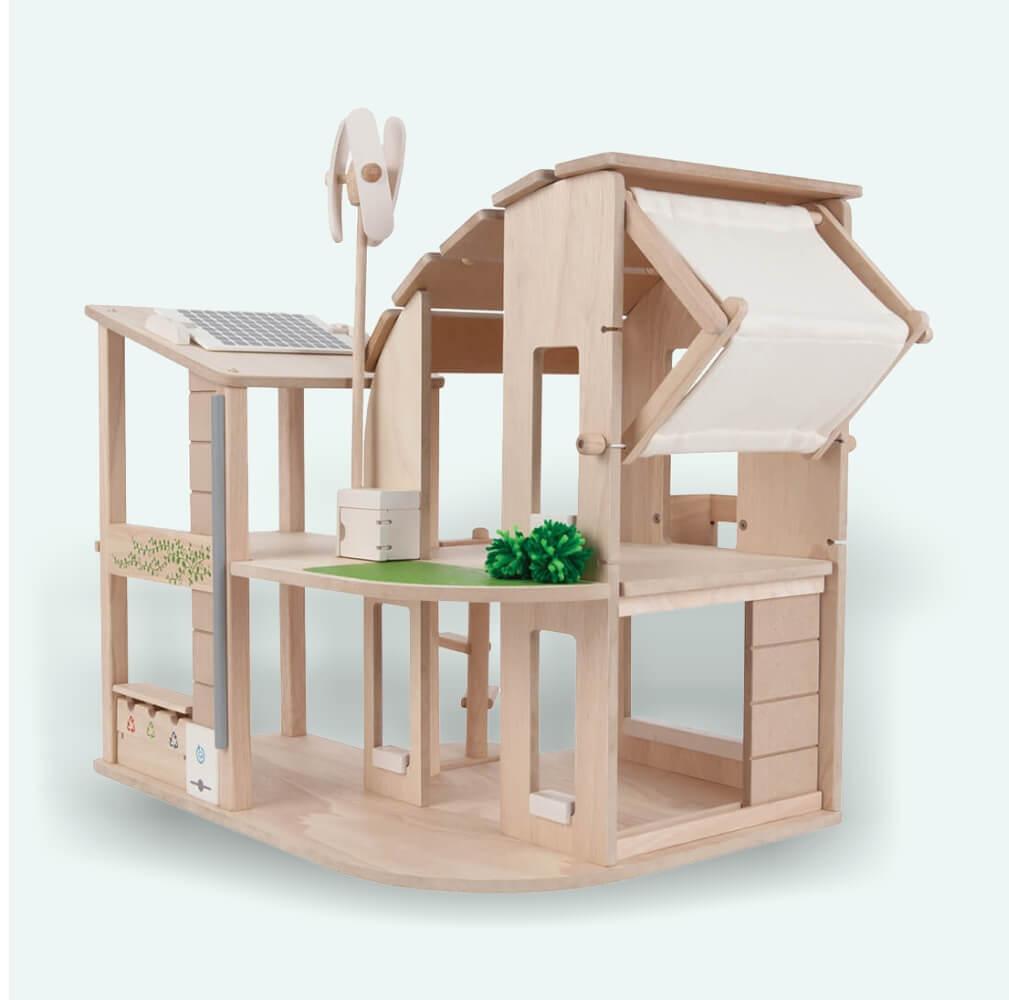 Zöld ház berendezéssel