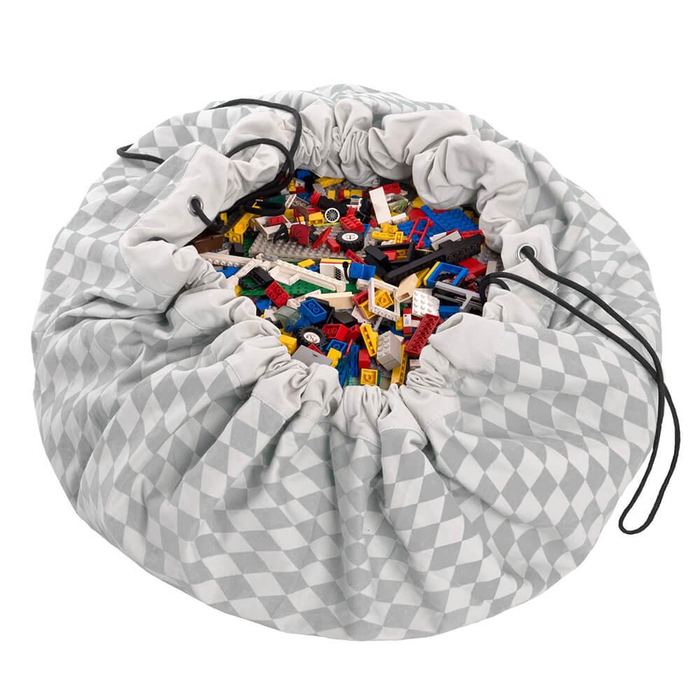 Játéktároló zsák - rombusz szürke