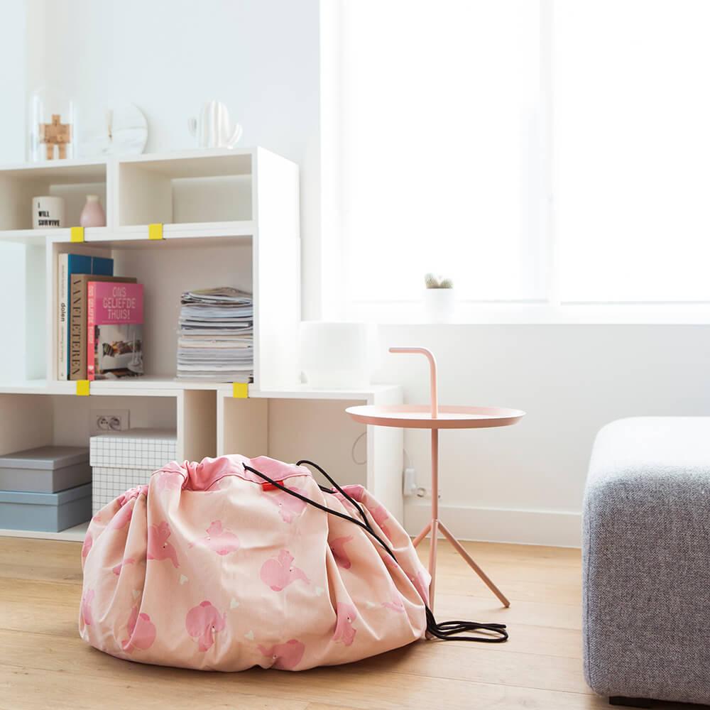 Játék tároló zsák - rózsaszín elefánt