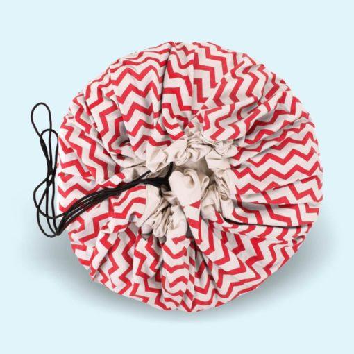 Játéktároló zsák - zigzag piros