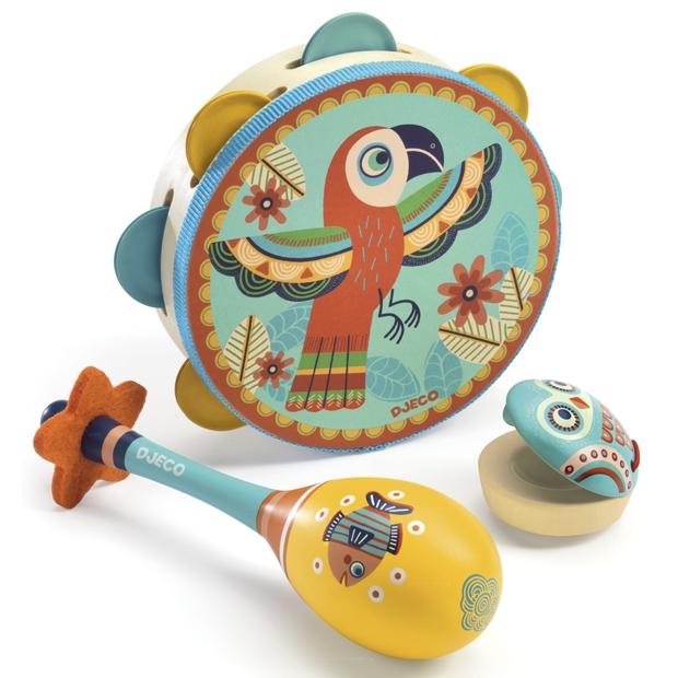 Szett: tamburin, maracas, kasztanyetta