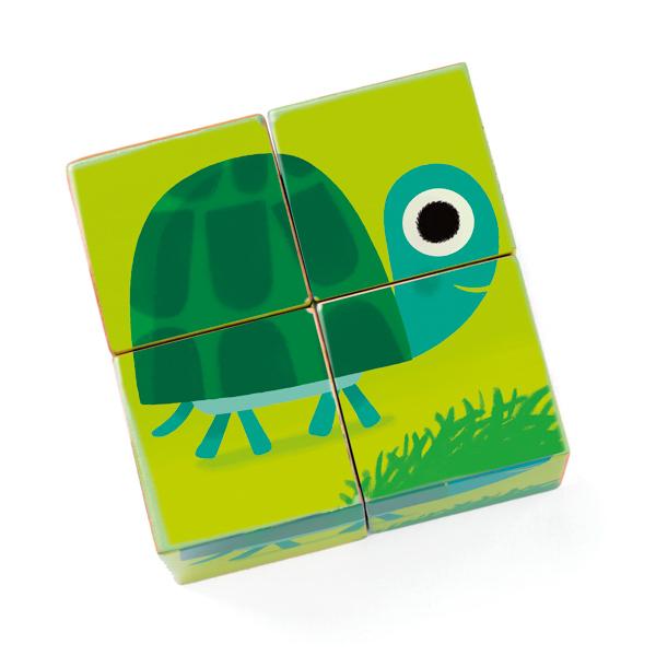 Forgatható kocka kirakó - Erdei állatok