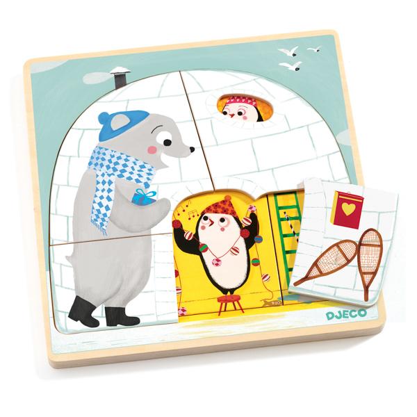 Háromrétegű puzzle - Eszkimó, kunyhó, Igloo