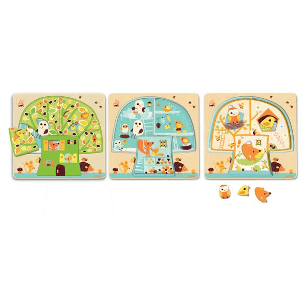 Háromrétegű puzzle - Három ház