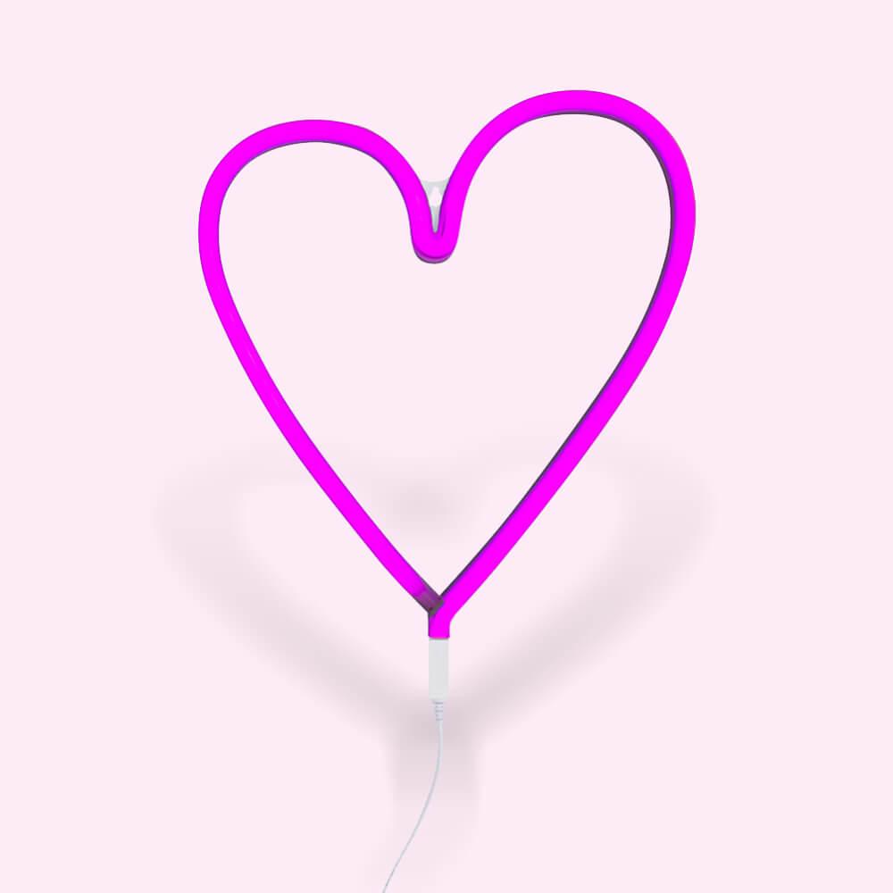 Neon lámpa - Szív - rózsaszín
