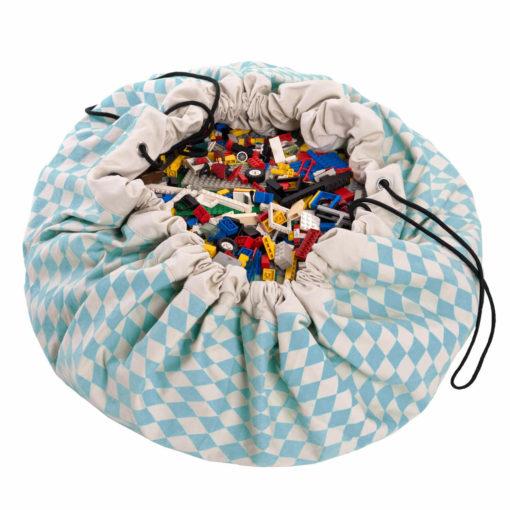 Játéktároló zsák - rombusz kék