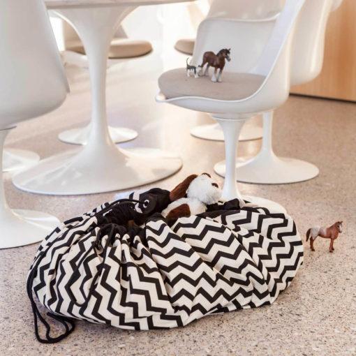 Játéktároló zsák - zigzag fekete