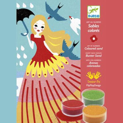 Djeco Kreatív -Homokkép készítő - Lányok napja készlet