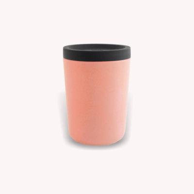 Ekobo hordozható bambusz kávés pohár - korall